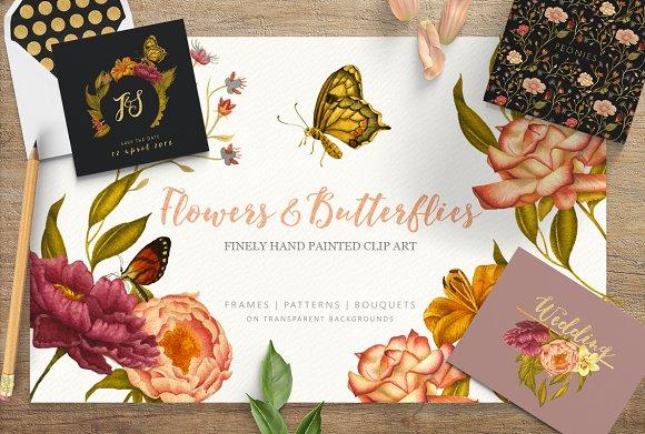 Flowers Butterflies Clipart