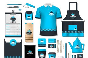 Vector blue fast food identity mocku
