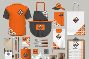 Vector orange fast food identity