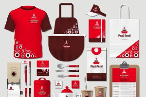 Vector red fast food identity mockup