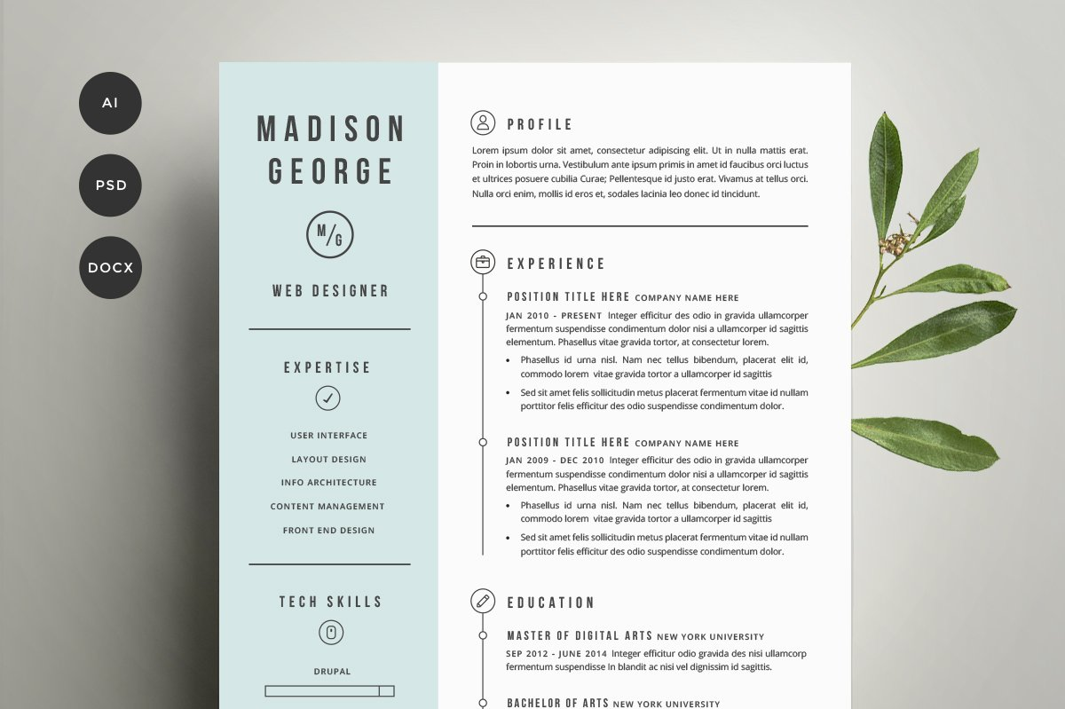 resume cover letter template resume templates creative market - Unique Resumes Templates