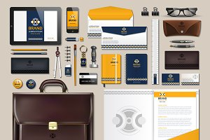 Vector yellow business identity mock