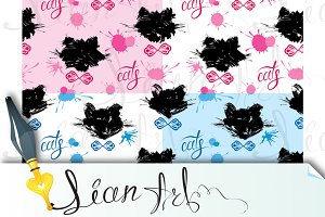 Seamless pattern with black cat head