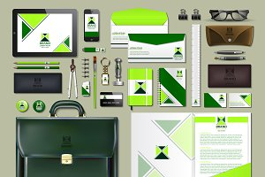 Vector green business identity mocku