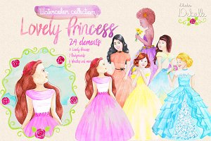 Lovely Princess watercolor clipart