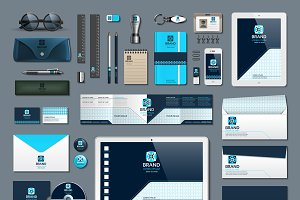 Vector blue business identity mockup