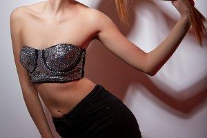 girl in sparkling bra