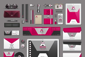 Vector red business identity mockup