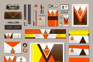 Vector orange business identity mock