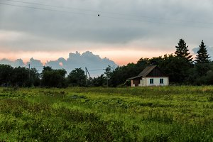 Horizontal vivid Ukraine village painting background