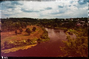 Vintage film scan Ukraine landscape light leak design