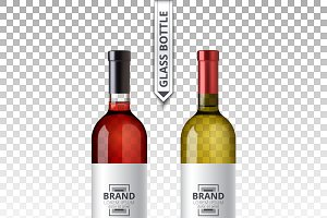 Vector red white wine bottle glass