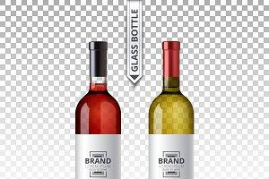 Vector red white wine bottle glass