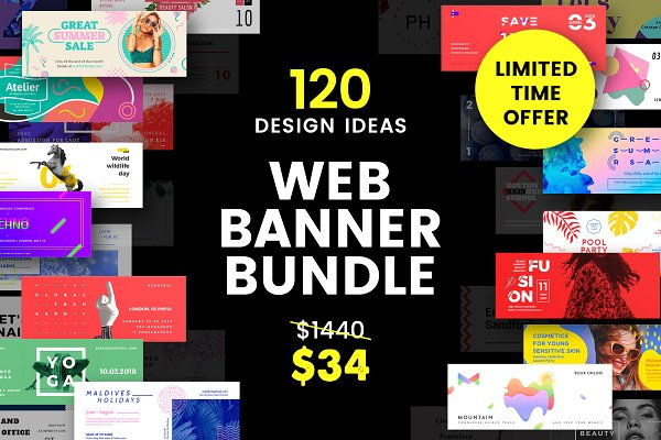 120 in 1 Web Banner Templates Bundl…