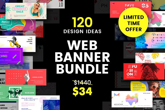 Banner Templates | 120 In 1 Web Banner Templates Bundle Social Media Templates