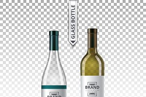 Vector wine glass bottle mockup