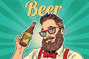 bearded hipster beer