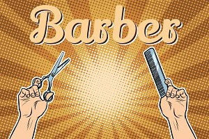 barber shop background, the hands with scissors and comb