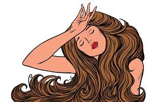 headache woman or just a dream