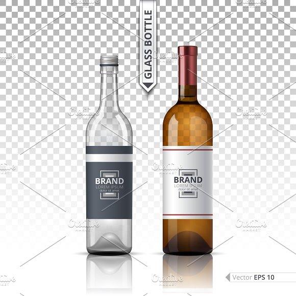 Vector Wine Glass Bottle Mockup