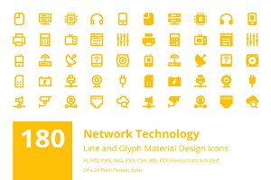 180 Network Technology Material Icon