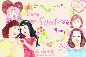 Mommy Sweet Mommy watercolor clipart