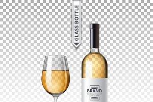 Vector wine bottle glass mockup