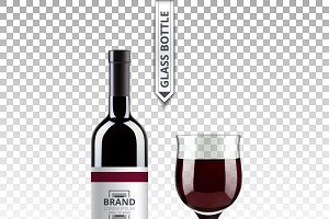 Vector red wine bottle glass mockup