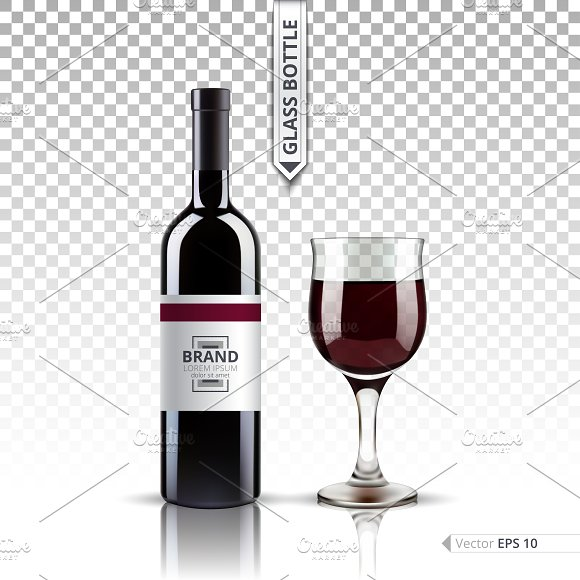 Vector Red Wine Bottle Glass Mockup