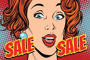 Sale comic text pop art woman