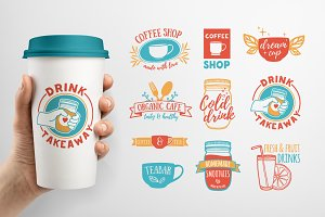 Set of Cafe badges, labels & logos