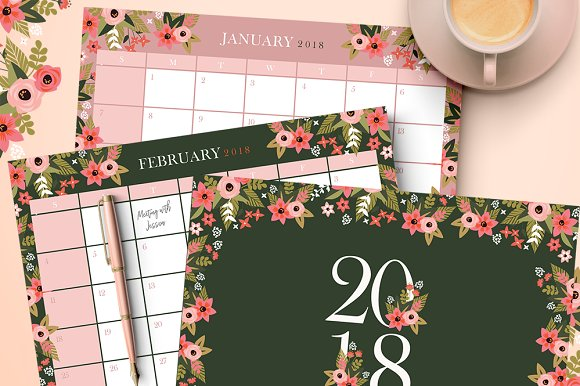 2018 Floral Calendar Planners