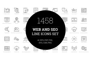 1458 Web and Seo Line Icons Set