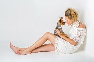 Girl with yorkie dog