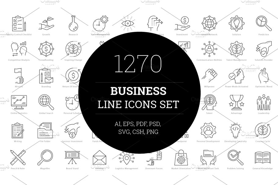 78afae5869e 1270 Business Line Icons ~ Icons ~ Creative Market