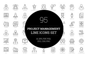 95 Project Management Line Icons