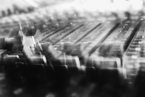 Black and white mixing console motion abstraction
