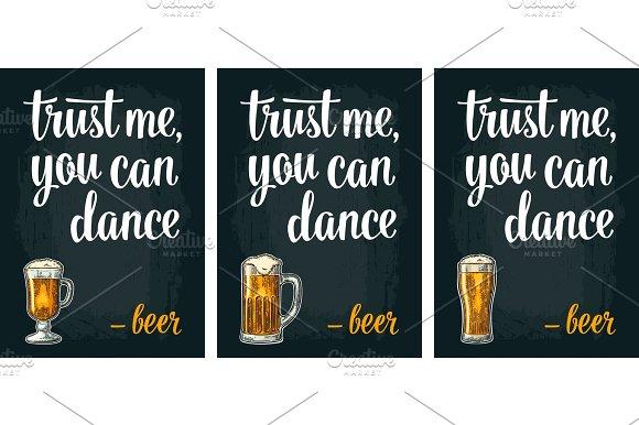 Glass Beer Vintage Vector Engraving Poster