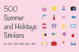 500 Summer and Holidays Stickers