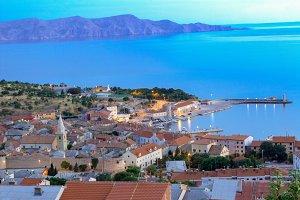 Panorama view to Senj , Croatia .