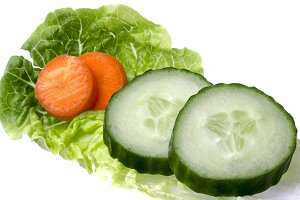 Salad Leaf with Cucumber and Carrots
