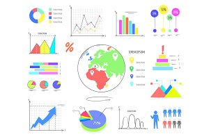 Colorful Graphics and Charts Illustrations Set