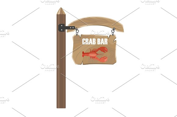 Wooden Hanging Signboard With Crab Bar Notice