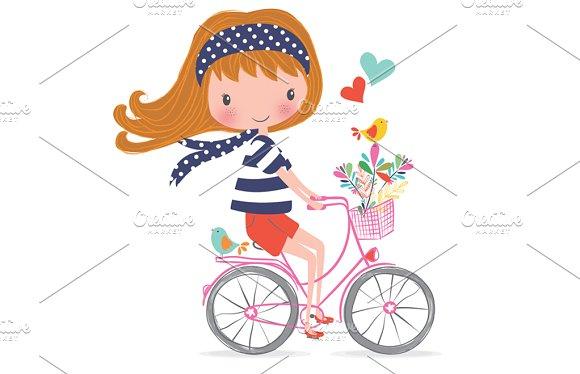 Cute Girl-Bike Girl T-shirt Graphic