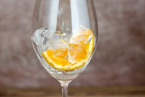 Glass with ice and orange