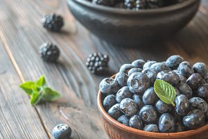 Blackberries and blueberries
