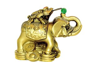 Elephant and Money Toad Gold Figure