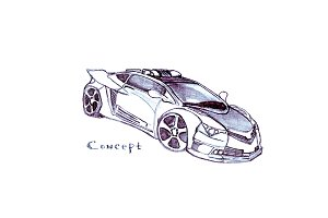 Car drawing pencil. Concept