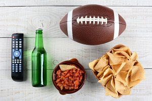 TV Remote Salsa, Beer Chips Football
