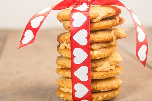 Heart riboon on stack of cookies
